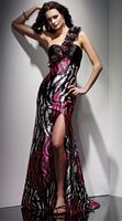 Claudine for Alyce Paris Black Fuchsia Print Dress with Ruffle 2013 image