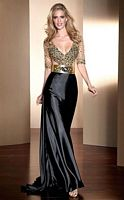Claudine for Alyce Deep V Neck Beaded Prom Dress 2041 image