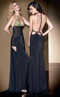 Claudine for Alyce Beaded Back Halter V Neck Prom Dress 2042 image