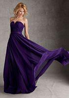 Size 12 Eggplant Angelina Faccenda 20421 Notched Long Bridesmaid Dress image