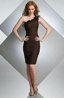 Size 12 Bari Jay Espresso Short One Shldr Bridesmaid Dress Flowers 210 image