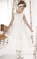 Mon Cheri Joan Calabrese Satin Tulle Tiered Flower Girls Dress 211302 image