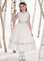 Mon Cheri Joan Calabrese Organza Satin Girls Dress with Flowers 211304 image