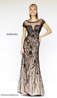 Sherri Hill 21262 Short Sleeve Sheer Beaded Gown image