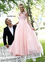 Sherri Hill 21265 Illusion Long Dress with Pleated Skirt image
