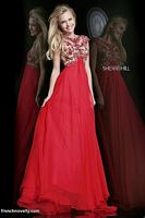 Sherri Hill 21321 Cap Sleeve Beaded Sheer Evening Dress image