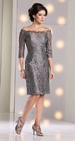 Size 12 Pewter Mon Cheri Social Occasions MOB Dress 213899 image
