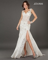 Jovani 2180 Lace Gown with Sheer Panel image