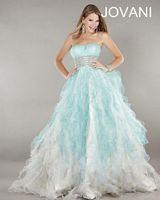 Jovani 2225 Ruffle Ball Gown with Beaded Waist image