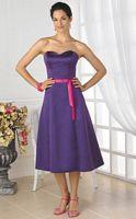 Pretty Maids Two Tone Tea Length Satin Bridesmaid Dress 22319 image