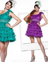 BabyDoll by MacDuggal One Shoulder Ruffle Short Prom Dress 2548B image