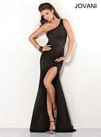 Jovani 2555 One Shoulder Jersey Formal Dress image