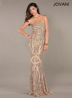 Jovani 2559 Beaded Print Jersey Gown image