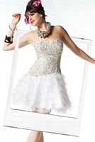 BabyDoll by MacDuggal Ivory Gold Tiered Tulle Short Prom Dress 2568B image