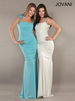 Jovani Cap Sleeve Jersey Formal Gown 262088 image