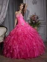 Size 14 Bubblegum Quinceanera Organza Dress by House of Wu 26688 image