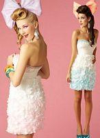 BabyDoll by MacDuggal Cascading Flower Petal Short Prom Dress 2685B image
