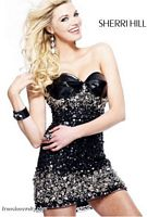 Sherri Hill Black Cocktail Dress with Beading and Jewels 2754 image