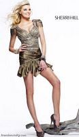 Sherri Hill Short Bronze Military Look Beaded Party Dress 2757 image