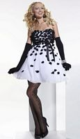 Hannah S White and Black Flowers Short Party Dress 27656 image