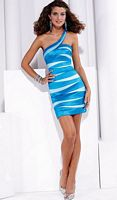 Hannah S One Shoulder Stretch Taffeta Short Prom Dress 27682 image