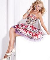 Hannah S Print Taffeta Ruffle Short Prom Party Dress 27683 image