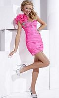 Hannah S Organza Ruffle One Strap Short Prom Dress 27684 image