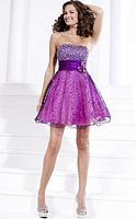 Hannah S Tulle over Lame Short Prom Party Dress 27685 image