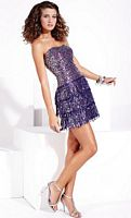 Hannah S Sequin Fringe Short Sheath Prom Dress 27686 image