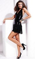 Hannah S Short Sequin V Neck Halter Prom Dress 27714 image
