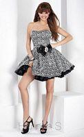 Hannah S Black and White Print Short Homecoming Dress 27744 image