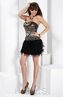 Hannah S Black Leopard Cocktail Dress 27758 with Sequins and Feathers image