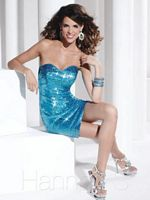 Size 6 Turquoise Hannah S 27771 Sequin Cocktail Dress image