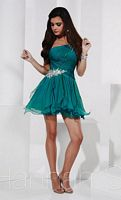 Size 14 Teal Hannah S 27815 Short Petal Skirt Homecoming Dress image