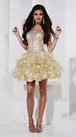 Hannah S Short Metallic Organza Ruffle Party Dress 27829 image