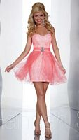Size 4 Hot Peach Hannah S 27852 Removable Skirt Dress image