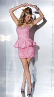 Hannah S 27877 Lace Satin Short Dress image