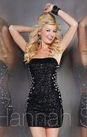 Hannah S 27879 Beaded Illusion Sides Short Dress image