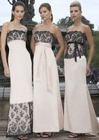 Alexia Designs Satin Bridesmaid Dress with Lace Bodice and Sash 2806 image