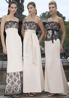 Alexia Designs Satin Bridesmaid Dress with Slim Lace Bodice 2808 image