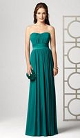 Dessy Collection Strapless Long Lux Chiffon Bridesmaid Dress 2860 image