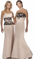 Alexia Designs Satin Bridesmaid Dress with Lace at Waist 2902 image