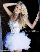 Sherri Hill Short Prom Party Dress with Jewels and Ruffles 2925 image