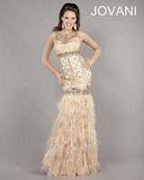 Jovani 2952 Feather Mermaid Formal Party Dress image