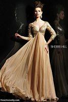 Sherri Hill Nude Evening Dress 2963 with Three Quarter Sleeves image