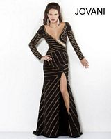 Jovani 2965 Long Sleeve Sexy Neckline Gown image