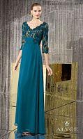 Size 12 Blue Coral Alyce Jean De Lys 29678 V Neck Mother Dress image