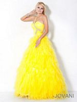 Jovani 3001 Evening Dress with Feather Skirt image