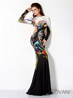 Jovani 30033 Colorful Beaded Jersey Gown image