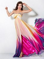 Jovani 3006 Colorful Chiffon Crossover Bust Gown image
